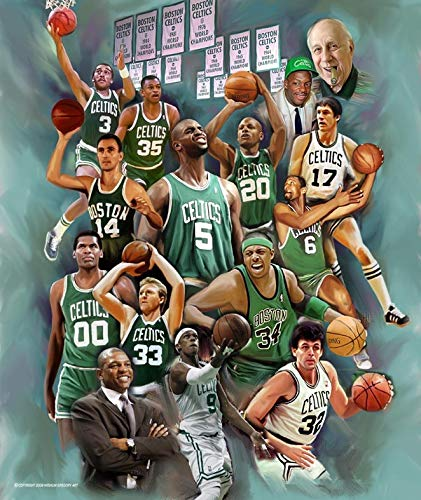 Wishum Gregory, Boston Celtics Legend- Art Print Poster, Paper Size 20' x 16' Image Size 20' x 16'(n-729)