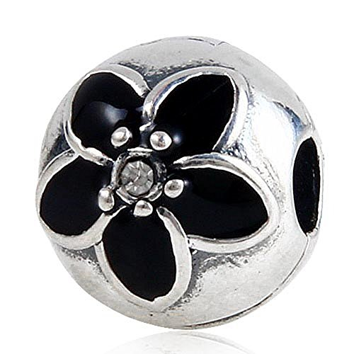 Black Enamel Mystic Floral Flower Charm with Clear Crystal 100% 925 Sterling Silver Clip Charm for Pandora European Style Bracelet