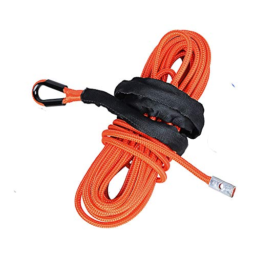 Best Price 1/4 inch 50 feet Orange 7000lbs Synthetic Fiber Winch Line Cable Rope with Rock Heat Guar...