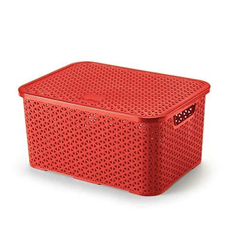 Caixa Organizadora Mosaico c/Tampa, 16l, Vermelha, Arthi