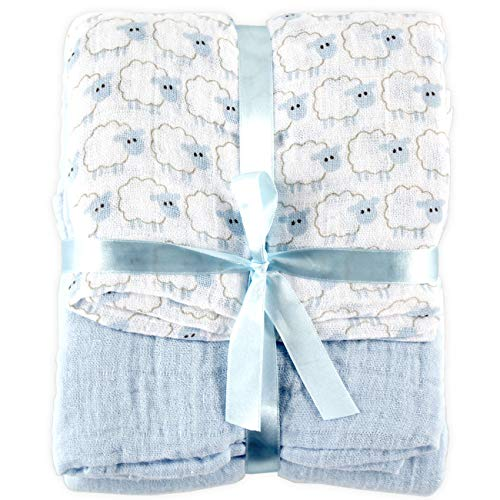 Hudson Baby Unisex Baby Cotton Muslin Swaddle Blankets, Blue Sheep 2-Pack, One Size
