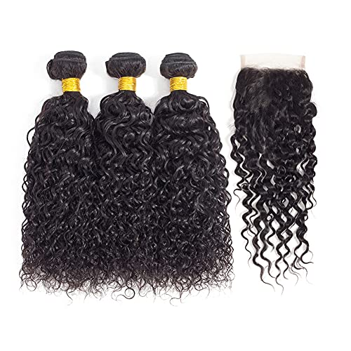 Kapelli Hair Brazilian Kinky Curly Virgin Hair 3 Bundles with Closure 100% Unprocessed Remy Hair Extensions 9A Brazilian Curly Virgin Hair Bundles with Lace Closure Natural Black Color(14 16 18+14 Closure)