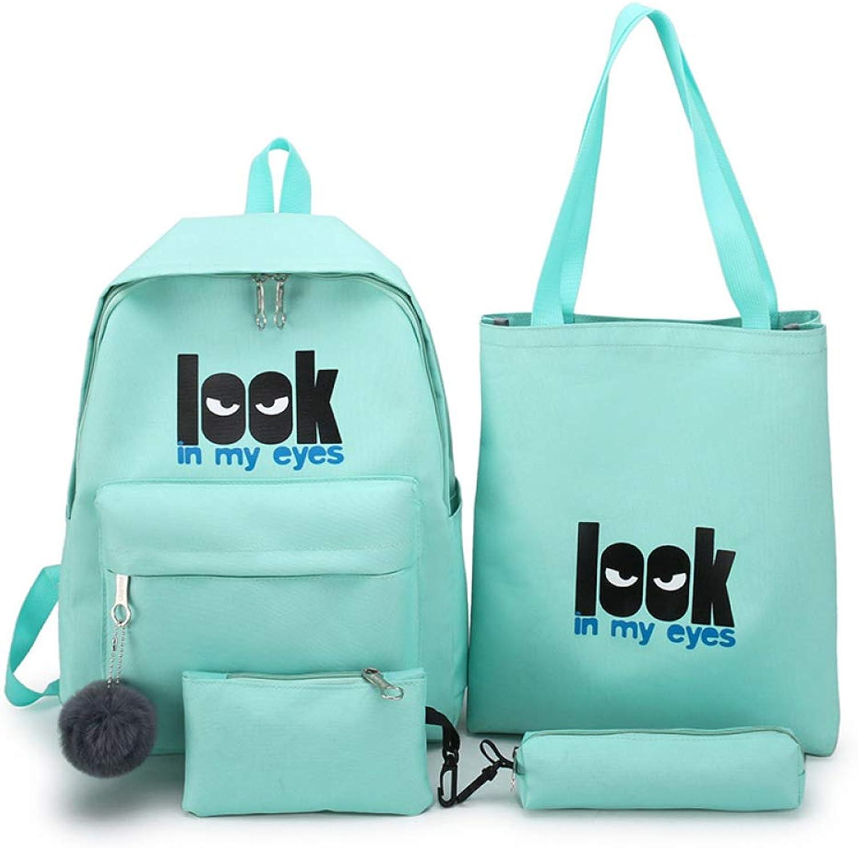 QWKZH Middle school student bag female Korean version of the campus solid color printing backpack shoulder bag