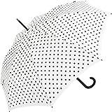 Knirps Paraguas automático para mujer, diseño de lunares, blanco y negro (Blanco) - .