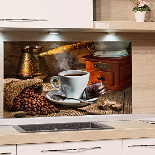 GRAZDesign Glasbilder Kaffee Motiv - Glaswand Küche Kaffeetasse - Küchenrückwand Glas Braun / 80x60cm