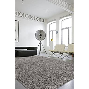 Sweet Home Stores Cozy Shag Collection Solid Shag Rug Contemporary Living & Bedroom Soft Shaggy Area Rug, 3'3 L x 4'7 W, Grey