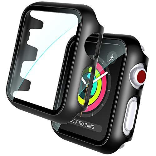 TOCOL 2 Pezzi Vetro temperato Apple Watch 3 2 1 38mm Pellicola Protettiva e Custodia Stampaggio Integrato Contro i Graffi Paraurti Rigido Opaco Protezione Completa Nero
