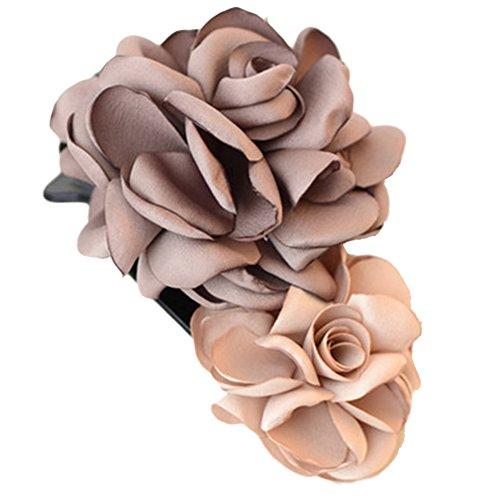 Mixte clip coloré Simulation Fleur Rose Cheveux épingle Fleur Coiffe(marron)