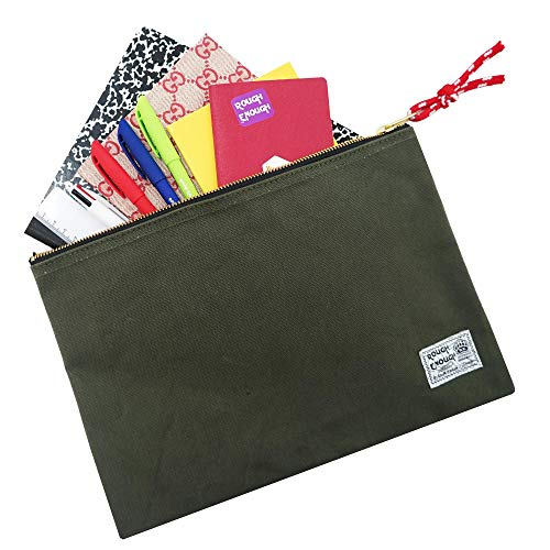 Rough Enough Canvas File Folder Organizer Letter Size Document Bag Case Pouch Paper Notebook Envelopes Magazine with Zipper for Filing Laptop Accessories Office School Supplies Exam Car