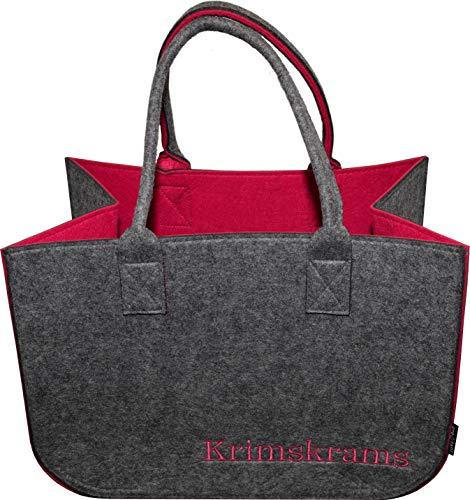 Filztasche Einkaufstasche · Henkeltasche aus Filz · Shopping Bag · Einkaufskorb mit Henkel · Shopper (Grau/Pink Krims Krams 1)