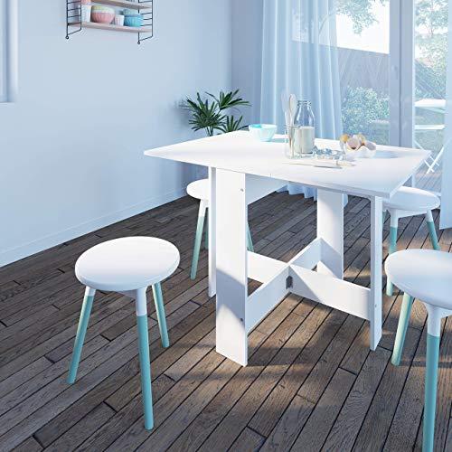 Papillon, Table Pliante avec 2 Abattants, en Panneaux de Particules Melaminés, Blanc 103/67/28x76x73,4 (LxPxA)