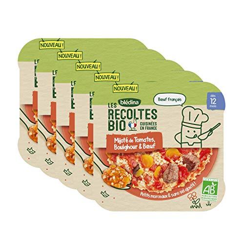 Blédina Les Récoltes Bio -Repas pour bébé dès 12 mois - Mijoté de Tomates, Boulghour & Bœuf - Petits plats pour bébé dès 1 ans - 5 x 230G