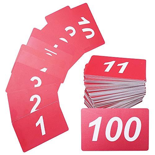 LUCINA 番号札として活用できる 数字プレート 野外で使える 1~100 両面数字入り PVC素材 横向きタイプ 整理券 番号札 ライブ フェス (赤 1~100)