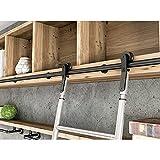 Sliding Barn Door Kit 3.3ft-20ft, Rolling Ladder Hardware Library Sliding Ladder Hardware Full Set Kit (No Ladder), Round Tube Mobile Ladder Track for Home/Indoor/Loft ( Size : 13ft/400cm track kit )