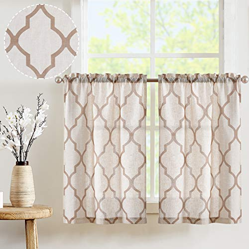 JINCHAN Kitchen Curtains Short Curtains for Bathroom Moroccan Print Linen Textured Look Half Window Covering for Kitchen Window Treatments 1 Pair 24 Inch LengthTaupe