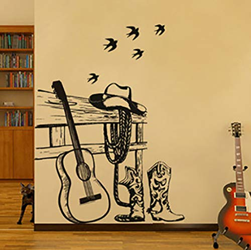YJXWall Sticker Gitaar Koffie Shop Raamdecoratie Sticker Klas Muursticker