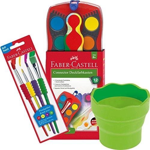 Faber-Castell - Farbkasten Connector mit 12 Farben, Inklusive Deckweiß, 4 Soft-Touch Pinseln und Wasserbecher in hellgrün