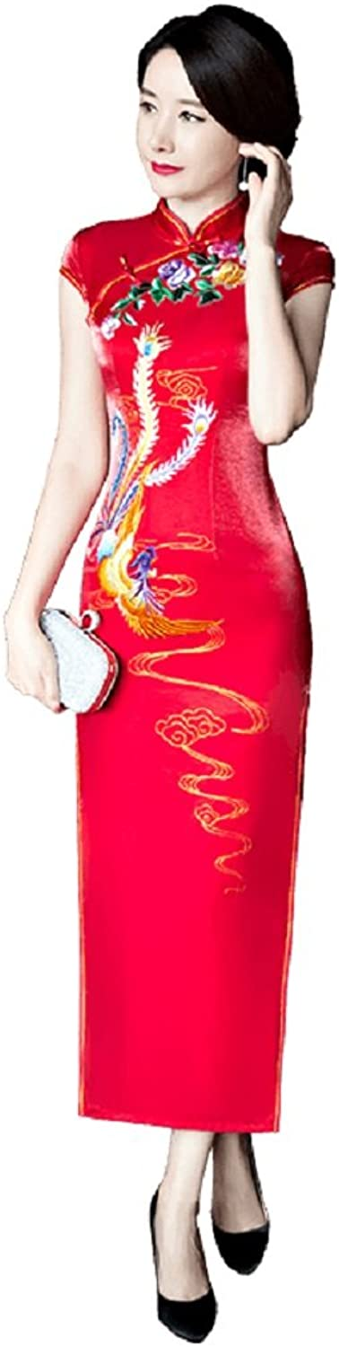 Shanghai Story phoenix Inkjet Printing Red Qipao Dress Long Cheongsam