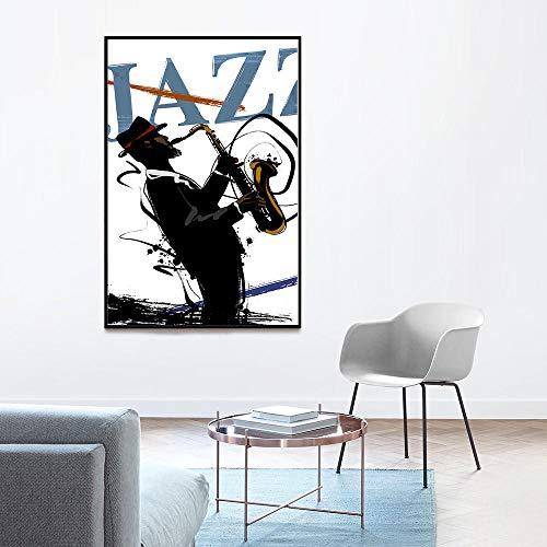 WJWGP NóRdico Guitarra Jazz Blues MúSica Poster Vintage Retrato Poster Abstracto Banda Lienzo Pintura MúSica Jugador Pared Arte Impresiones Dormitorio Decoracion Imagen