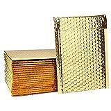 Switory 50pcs 15.2 x 25.4cm Versandtaschen, Luftpolsterumschläge Gepolsterte Umschläge Bubble Lined Poly Mailer Gold für die Verpackung