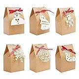 Geschenktüten Weihnachten (24 Stk) - 17,7x11x8 cm Geschenkverpackung Papiertüten Braun Kraftpapier 6 Weihnachtsmotive & Schneeflocke Anhänger - Geschenkbox Faltbar für Geschenk, Party, Gastgeschenke
