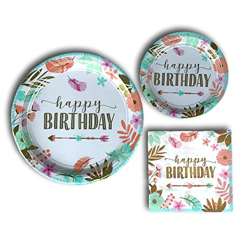 Boho Birthday Girl Disposable Paper Plates and Napkins Party Pack Supplies Bundle - Tableware set includes Dinner Plates - Dessert Plates and Napkins
