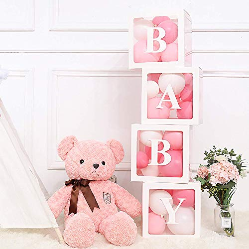 Goolsky Baby Shower Dekorationen für Mädchen Ballon Box Transparente Ballon Dekorationen Boxen für Baby Erste Geburtstagsfeier Mädchen Geburtstagsfeier Wohnkultur Baby Girl Favors