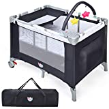 COSTWAY 3 in 1 Portable Travel Cot, Folding Baby Bassinet and Activity Playpen with Changing Table, Hanging Toys, Wheels, Carry Bag, Baby Crib Bed for Boys Girls
