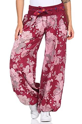 Moda Italy Damen Haremshose Pumphose Ballonhose Pluderhose Yogahose Aladinhose Harem Sommerhose mit Stoffgürtel Flower-Print, One Size Gr.36-42, Bordeaux