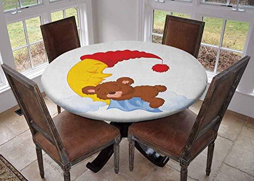 Ronde tafelkleed keuken decoratie, tafelblad met elastische randen, vier Beagle Hounds broers en zussen spelen Foxhound I Love My Dog Breed Thema Bruin Wit en Zwart, Banket tafelkleed