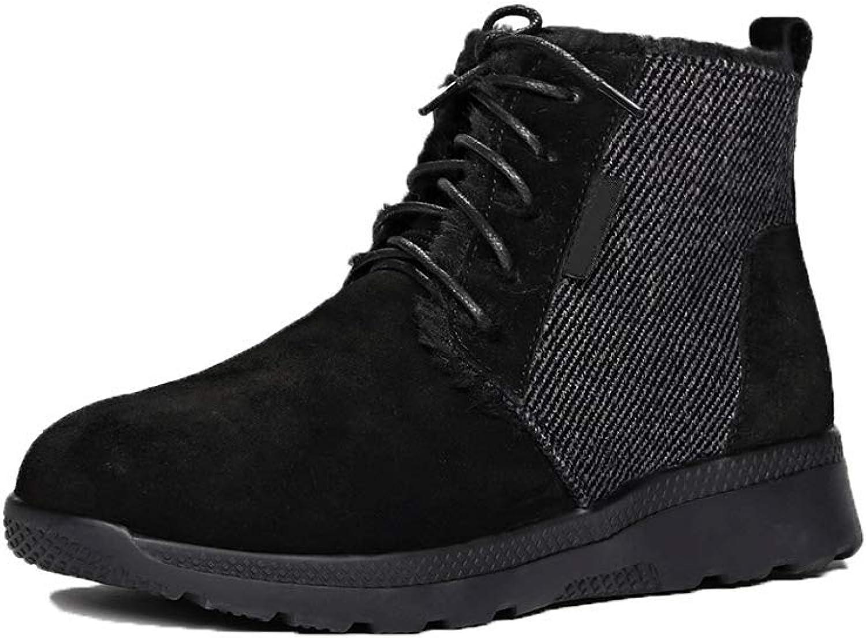 Ailj Snow Boots, Ladies Outdoor Leather Warm Boots Thickened Plus Long Velvet Short Boots Non-Slip Flat Cotton Boots (2 colors) (color   Black, Size   40 EU 7.5 US 6.5 UK 25cm JP)