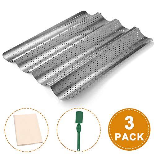 ZGoEC 3er Set Baguetteblech, Baguette Pan, Perforierte Backblech Brotbackformen Baguetteform mit Antihaftbeschichtung, für 4 Baguettes