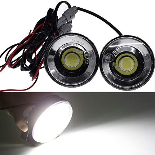 VAWAR COB LED Tagfahrlicht rund, 12V / 24V Tagfahrleuchten, E8 Scheinwerfer, Nebelscheinwerfer, Weiß
