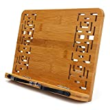 Bamboo Book Stand - wishacc Reading Rest Holder Cookbook Cook Stand/Foldable Tablet PC...