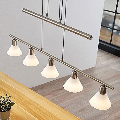 Lindby Hängelampe 5 flammig, höhenverstellbar | Esstisch Pendelleuchte Glas Metall | Hängeleuchte für Esszimmer, Wohnzimmer | Balkenpendelleuchte | Glasleuchte