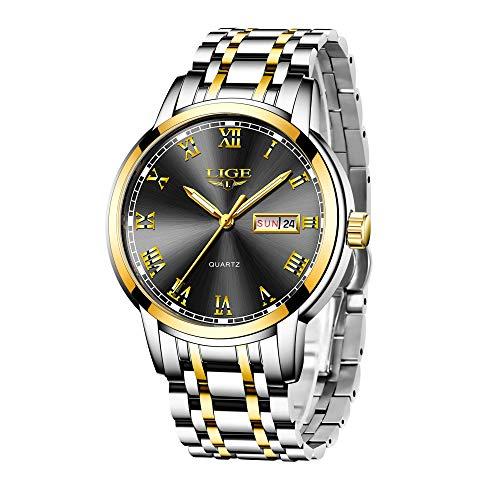 LIGE Relojes Hombre Acero Inoxidable Impermeable Cuarzo Analógico Reloj con Vestido de Negocios Automatico Calendario Reloj de Pulsera para Hombres