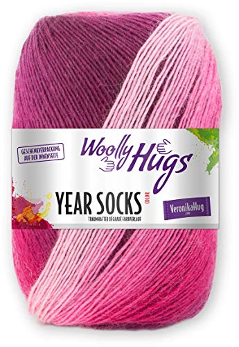 Woolly Hugs Year Socks Fb. 04 APR, 100g Sockenwolle mit dezentem Degradé Farbverlauf