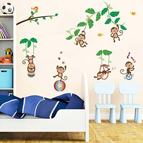 decalmile Pegatinas de Pared Árbol Mono Vinilos Decorativos Circo Animales Adhesivos Pared para Habitacion Bebés Guardería Infantiles Dormitorio