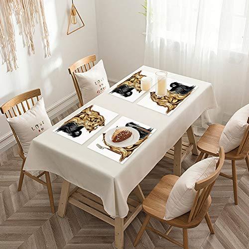 Sets de table de Rectangulaire lavables, durables, résistants à la chaleur et antidérapants,Yorkie, Dessin réaliste Cheveux longs Yorkie Aux Animaux Domes,Salle à Manger de Cuisine de Fête (Lot de 4)