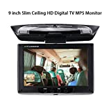 Car Stereo Player MP5 con Pantalla de 9 Pulgadas Slim Ceiling HD Digital TV Monitor MP5 Flip Down Roof Mount Monitor de Audio