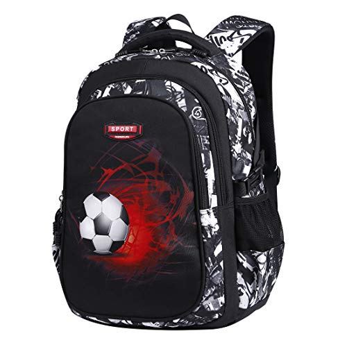 Asge School Bags for Boys Large Backpack for Teenage Girls Multi Pocket Travel Activity Back Packs Men Football Print Kids Rucksack Laptop Backpack 15.6 Inch