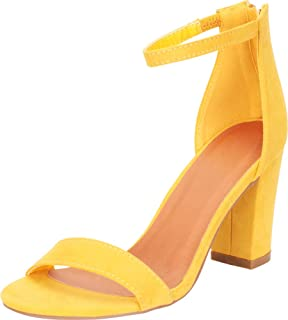 Women's Open Toe Single Band Stretch Ankle Strappy Chunky Stacked Block Heel Sandal
