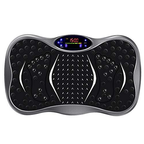 Preisvergleich Produktbild 3D Vibrationsplatte mit einmaligen Curved Design,  Musik,  die Maschine abnimmt,  Riesige Fläche,  Coloured Display. Remote-Watch, Gray