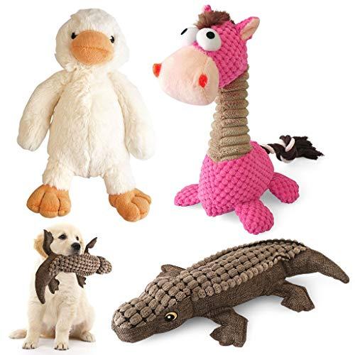 ZB ZealBoom 3PCS Peluche Giocattoli per Cani Dog Squeaky Toys Set di Giochi per Cani Piccoli Medie Grandi