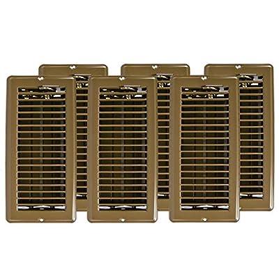 Continental Industries Metal Floor Registers - Vent Cover Set - Floor Vents 4x10 Brown, Set of 6