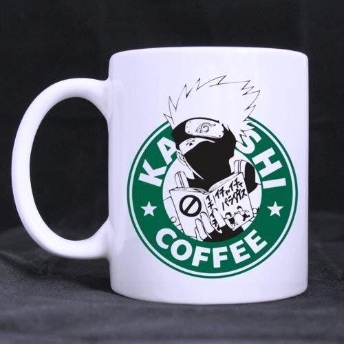 N\A Lustige gestaltete weiße Kaffeetassen oder Teetassen Coole einzigartige Geburtstags Kakashi Naruto Anime Managa inspirierte Geek Nerd Gamer
