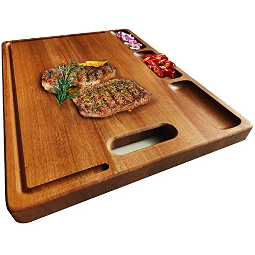 HHXRISE Large Acacia Wood Cutting Board for Kitchen17x12.4x0.8