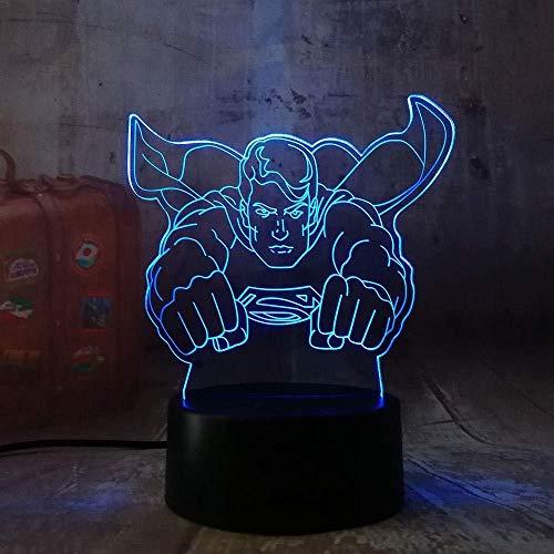 Luz Nocturna Decoración Luz Superman Cool Hero Luz Nocturna Led 7 Cambio De Colores Lámpara De Mesa 3D Luz De Escritorio Para Regalo De Bebé Luminaria Redlll