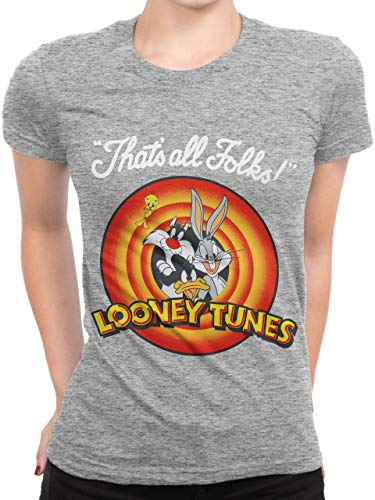 Looney Tunes Camiseta para Mujer Gris XX-Large