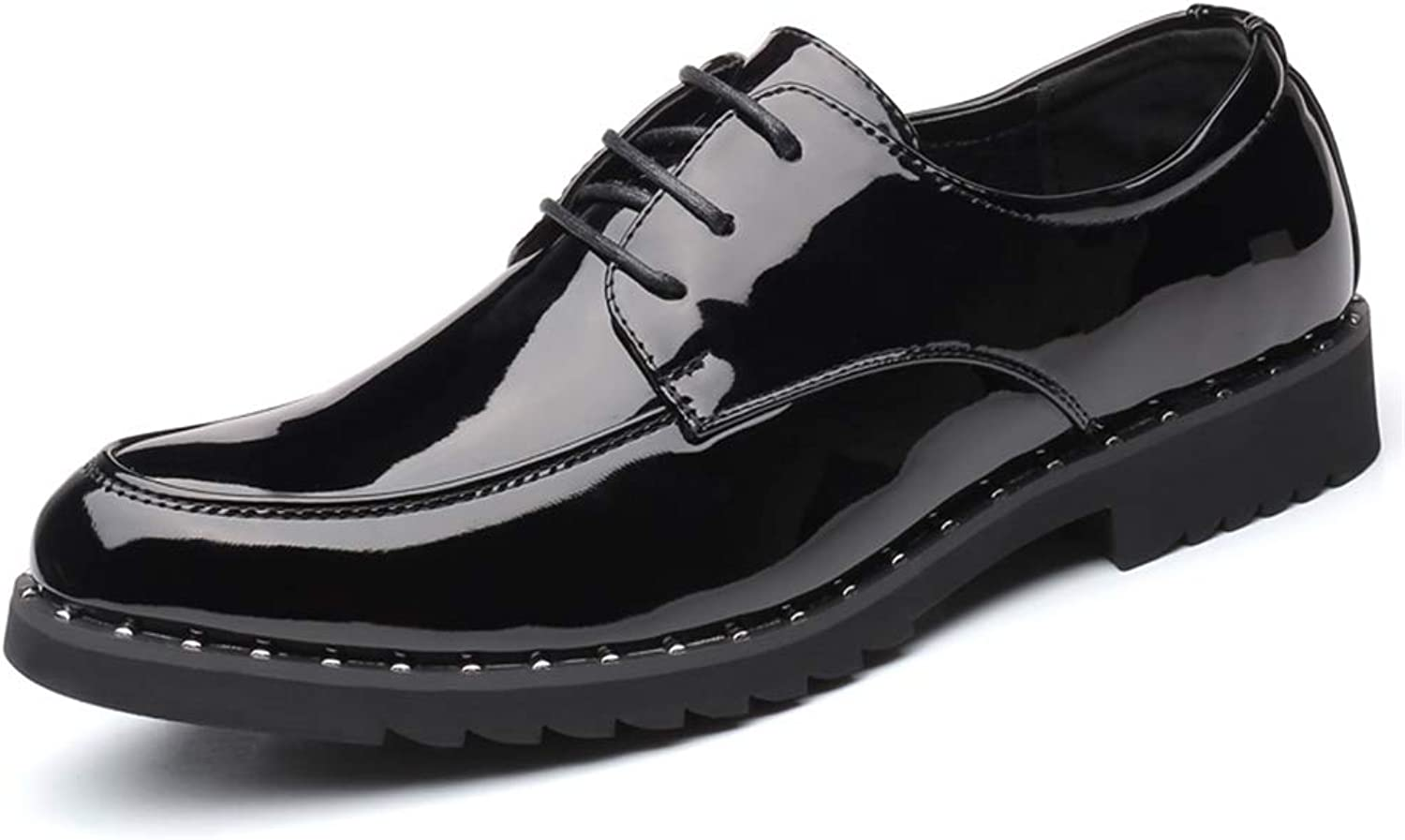 JUJIANFU-shoes Men's Fashion Business Oxford Casual Easy Outsole Simple Classic Pure Vividness Patent Leather Formal shoes